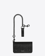 RIDER Chain Wallet in Black Crocodile Embossed Leather