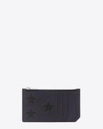 RIDER CALIFORNIA 5 Fragments Zip Pouch in Navy Blue Leather and Black Grained Metallic Leather