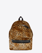 CITY Backpack in Tan and Black Leopard Printed Velour and Black Nylon and Leather