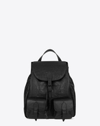 FESTIVAL Backpack in Black Crocodile Embossed Leather