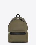 CITY Backpack in Khaki and Black Nylon and Black Leather