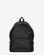 CITY Backpack in Vintage Black Leather and Black Nylon