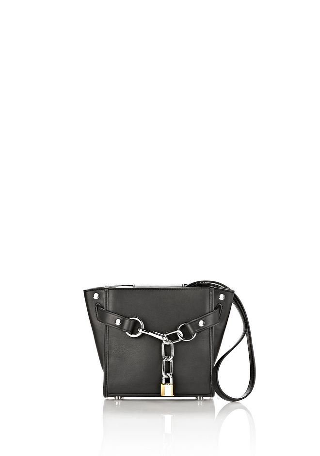 ALEXANDER WANG MESSENGER BAGS ATTICA MINI CHAIN SATCHEL IN BLACK WITH RHODIUM