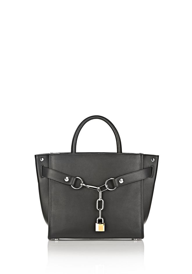 ALEXANDER WANG MESSENGER BAGS ATTICA CHAIN SATCHEL IN BLACK WITH RHODIUM