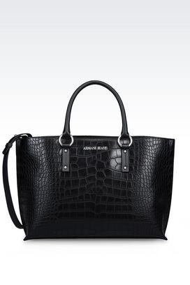 Armani Shopper Femme cabas avec imprimé crocodile