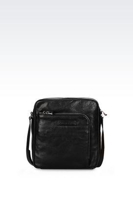 Armani Messenger bags Men cross body bag in grained calfskin