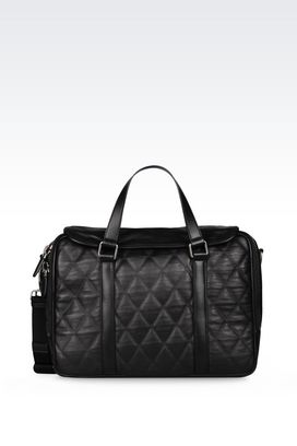 Armani Briefcases Men briefcase in quilted sheepskin