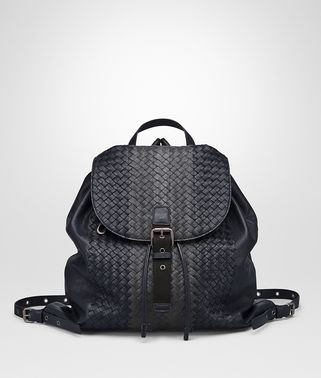 BACKPACK IN NEW DARK NAVY ARDOISE NEW LIGHT GRAY INTRECCIATO CLUB LAMB LEATHER