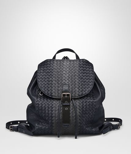 BACKPACK IN NEW DARK NAVY ARDOISE NEW LIGHT GREY INTRECCIATO CLUB LAMB LEATHER