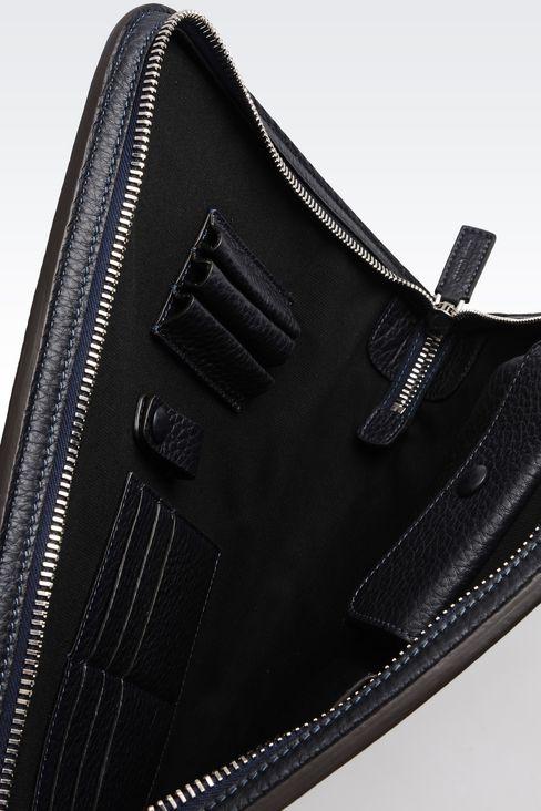 タンブルドカーフスキン製ドキュメントホルダー: トップハンドルバッグ メンズ by Armani - 3