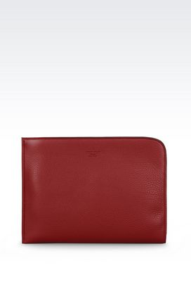 Armani Top handles Men document holder in tumbled calfskin