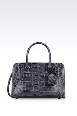 Armani Bowling bags Women bauletto bag in croc print calfskin
