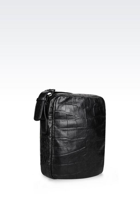 カーフスキン製クロスボディバッグ クロコダイルプリント: メッセンジャーバッグ メンズ by Armani - 3