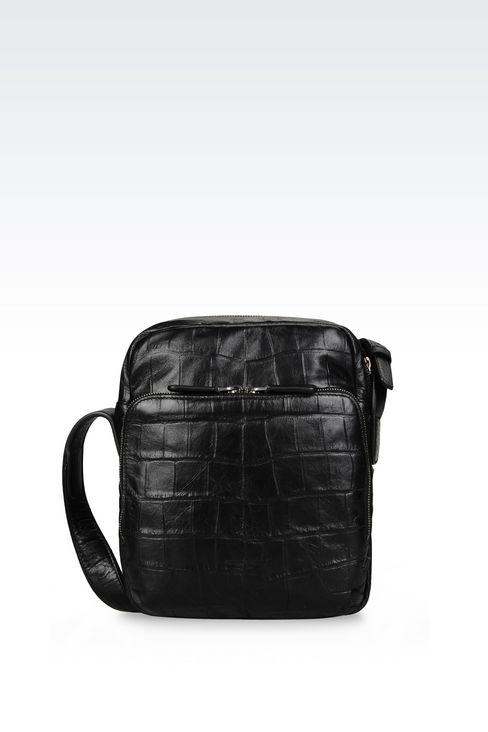 カーフスキン製クロスボディバッグ クロコダイルプリント: メッセンジャーバッグ メンズ by Armani - 1