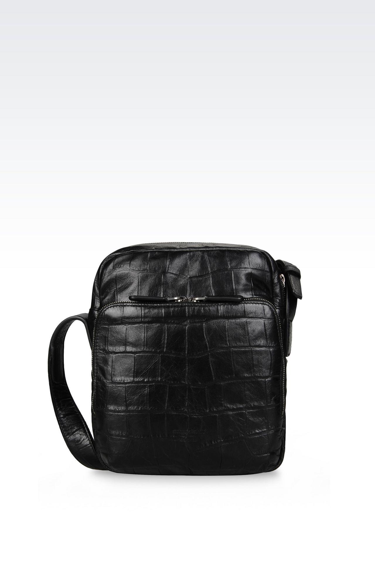 カーフスキン製クロスボディバッグ クロコダイルプリント: メッセンジャーバッグ メンズ by Armani - 0