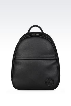 Armani Backpacks Men rucksack in tumbled calfskin