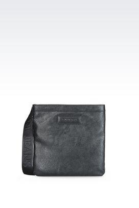 Armani Messenger bags Men flat messenger bag with adjustable strap