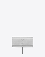 Classic KATE MONOGRAM SAINT LAURENT Tassel Clutch in Silver Lizard Embossed Metallic Leather