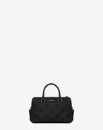 Classic BABY DUFFLE BAG in Black Leather and Cracked Patent Leather
