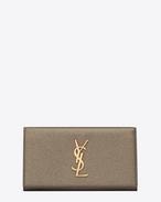 Grand portefeuille à rabat MONOGRAMME SAINT LAURENT en cuir grainé gris métallisé
