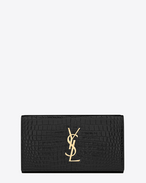 Large MONOGRAM SAINT LAURENT Flap Wallet in Black Crocodile Embossed Shiny Leather