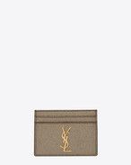 MONOGRAM SAINT LAURENT Credit Card Case in Grey Grained Metallic Leather