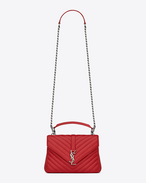 Classic Medium MONOGRAM SAINT LAURENT COLLÈGE Bag in Red Matelassé Leather
