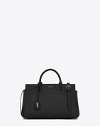 Small CABAS RIVE GAUCHE Bag in Black Grained Leather and Suede