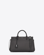 Small CABAS RIVE GAUCHE Bag in Dark Anthracite Grained Leather and Suede