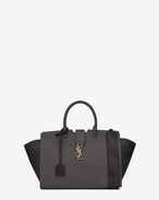 Small MONOGRAM SAINT LAURENT Downtown CABAS Bag in Dark Anthracite Leather and Grey and Black Python Skin