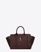 Small MONOGRAM SAINT LAURENT Downtown CABAS Bag in Bordeaux Leather and Bordeaux and Black Python Skin