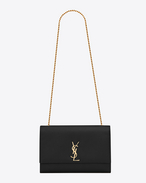 Classic Large KATE MONOGRAM SAINT LAURENT Satchel in Black Grain de Poudre Textured Leather