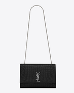 Classic Large KATE MONOGRAM SAINT LAURENT Satchel in Black Crocodile Embossed Leather