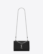 Classic Medium KATE MONOGRAM SAINT LAURENT Double Handle Satchel in Black Crocodile Embossed Leather