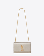Classic Medium KATE MONOGRAM SAINT LAURENT Satchel in Pale Gold Grained Metallic Leather