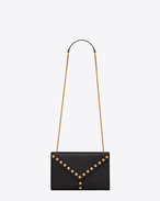 Small Y STUDS Satchel Chain bag nera in pelle