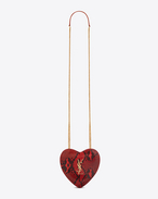 Small LOVE Heart Chain Bag in Red and Black Python Skin