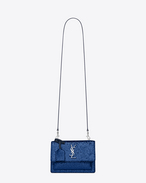 Small SUNSET MONOGRAM SAINT LAURENT Satchel in Navy Blue Glitter