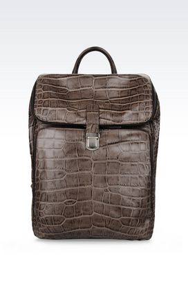 Armani Backpacks Men backpack in croc print calfskin