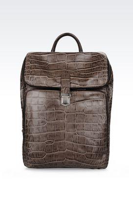 Armani Backpacks Men backpack in croc print calfskin