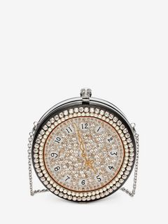 Clock Embroidered Round Skull Clutch