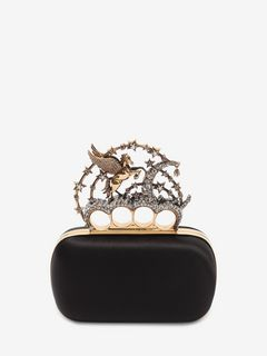 Black Satin Flying Unicorn Knuckle Clutch