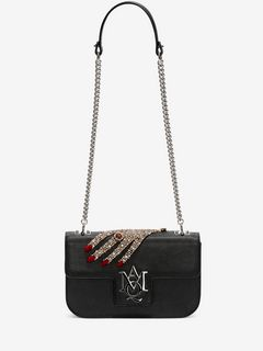 Jeweled hand Insignia Chain Satchel