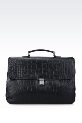 Armani Briefcases Men briefcase in croc print calfskin