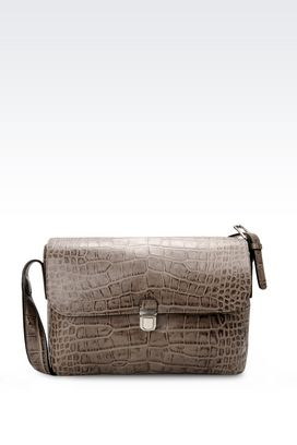 Armani Messenger bags Men messenger bag in croc print calfskin