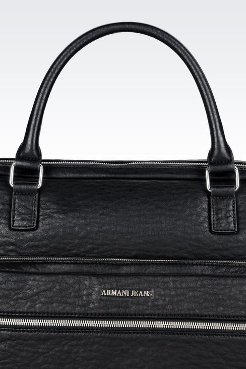 BRIEFCASE WITH COMPUTER POCKET: Satchels Men by Armani - 4