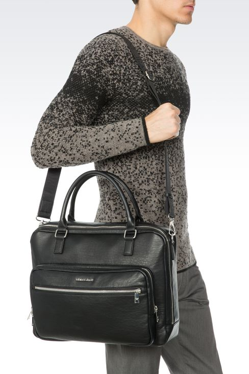 BRIEFCASE WITH COMPUTER POCKET: Satchels Men by Armani - 2