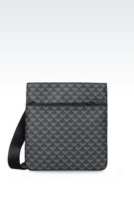 Armani Messenger bags Men flat messenger bag in logo patterned pvc