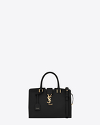 baby cabas monogram saint laurent bag in black leather
