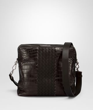 MESSENGER BAG IN EBANO ESPRESSO CROCODILE CLUB FUME